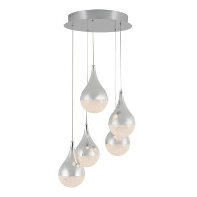 Glitzer 30-Watt Integrated LED Chrome Pendant