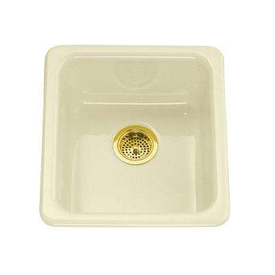 Iron/Tones Drop-In/Undermount Cast-Iron 17 in. Single Basin Kitchen Sink in Biscuit