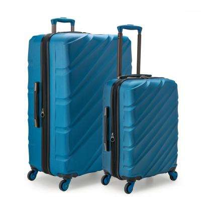 Gilmore 2-Piece Blue Expandable Hardside 4-Wheel Spinner Luggage Set with Push-Button Handle System