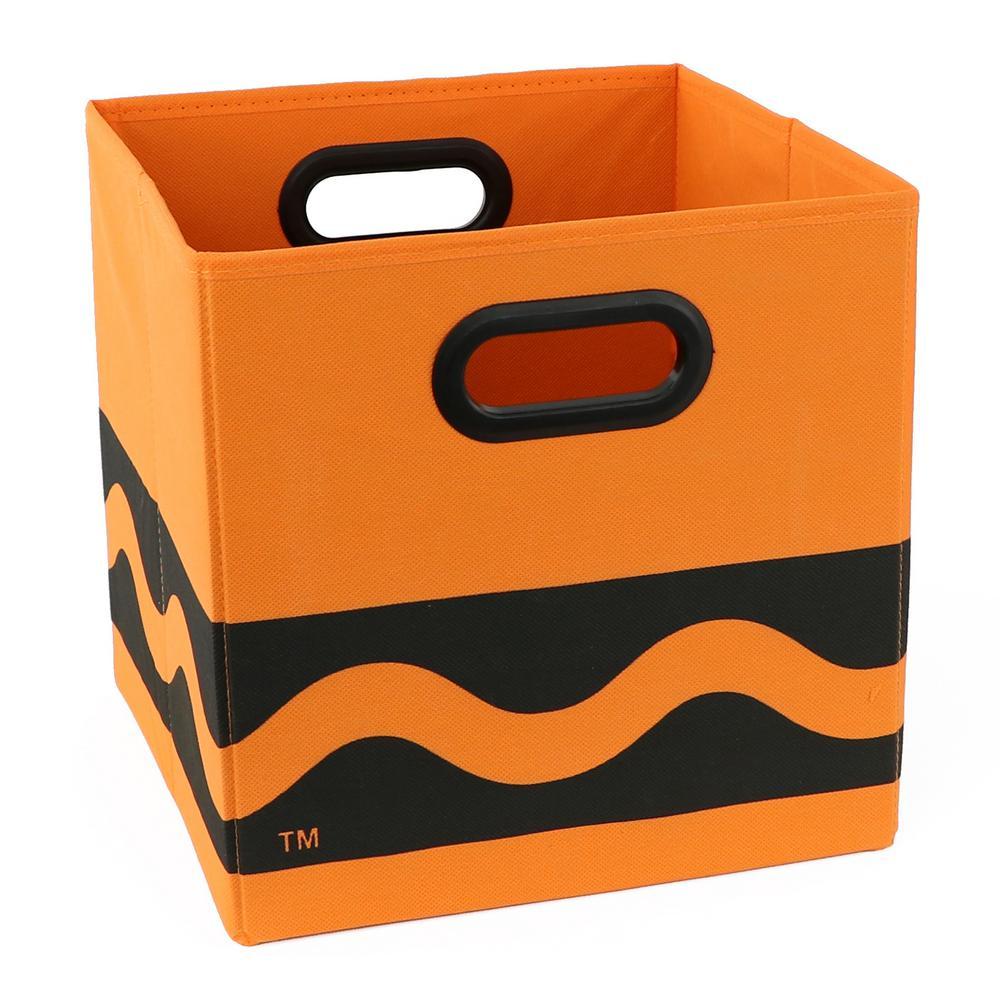 Crayola 10.5 in. x 10.5 in. Black Serpentine Orange Storage Bin