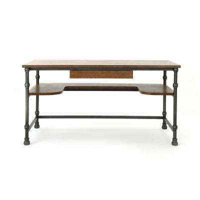 Lochlin Industrial Dark Brown Ash Veneer Desk with Faux Wood Overlay