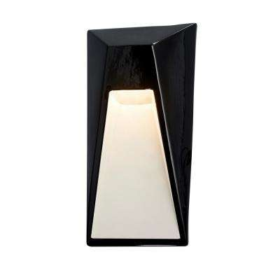 Ambiance Vertice Gloss Black with Matte White Internal Outdoor Integrated LED Sconce