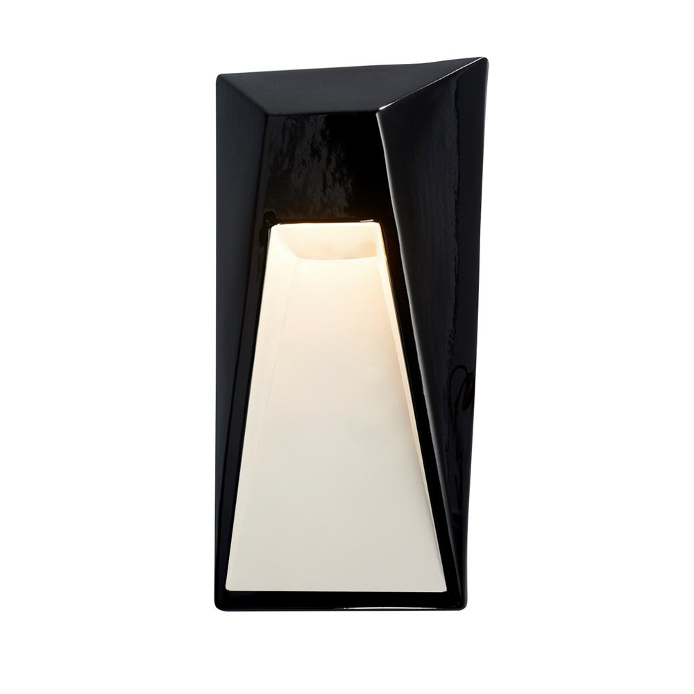 Justice Design Ambiance Vertice Gloss Black with Matte White Internal Outdoor Integrated LED Sconce