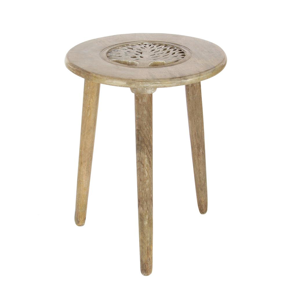 Light Brown Carved Tree Wood 3 Legged Accent Table