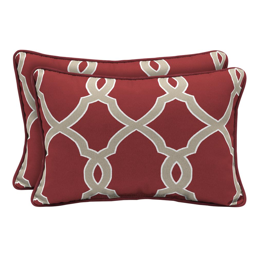 Hampton Bay Jeanette Trellis Lumbar Outdoor Throw Pillow 2 Pack Tj2u121a D9d2 The Home Depot