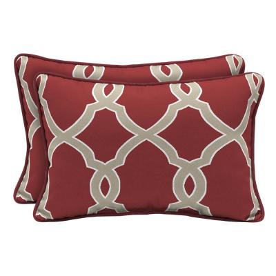 Jeanette Trellis Lumbar Outdoor Throw Pillow (2-Pack)