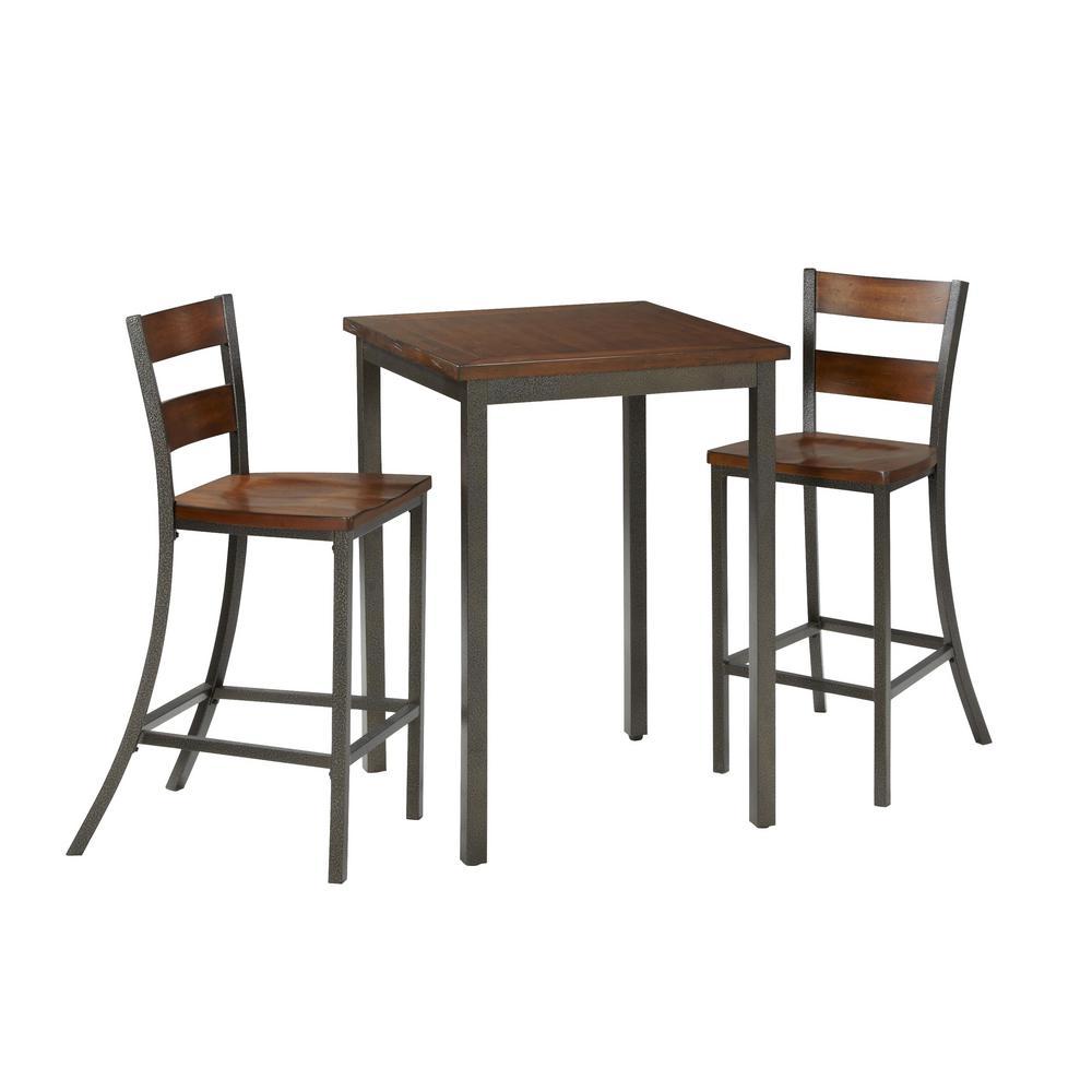 Cabin Creek 3 Piece Hammered Metal Bar Table Set
