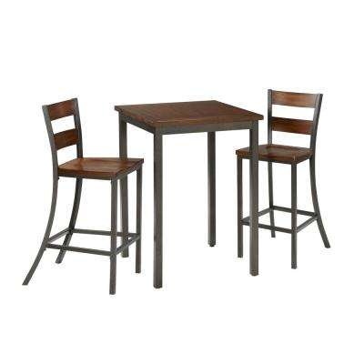 3-Piece Hammered Metal Bar Table Set