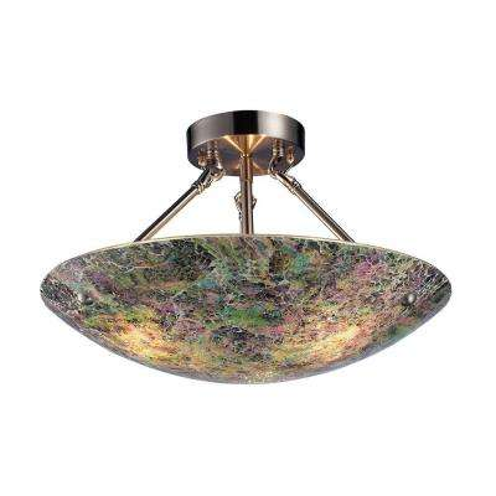 Avalon 3-Light Satin Nickel Ceiling Semi-Flush Mount Light