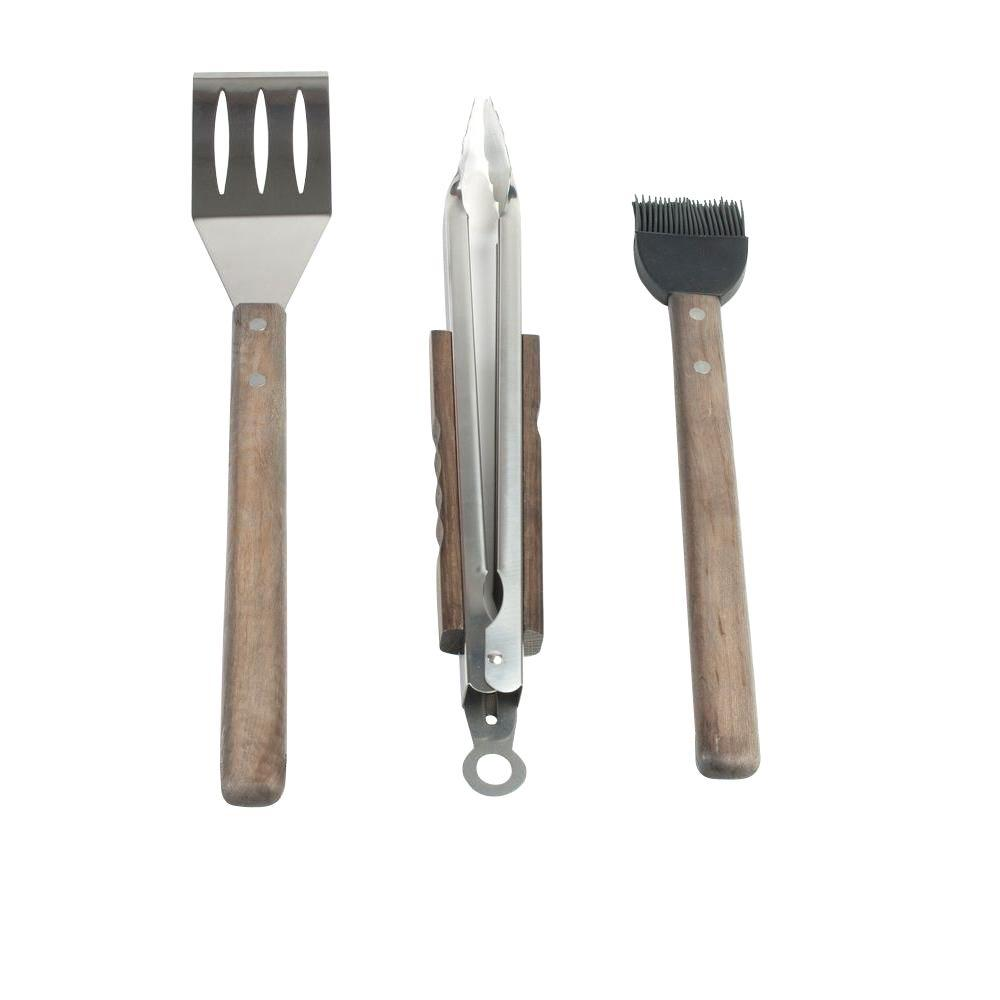 Oval Pro Chef 3-Piece BBQ Grill Tool Set with Espresso Wood