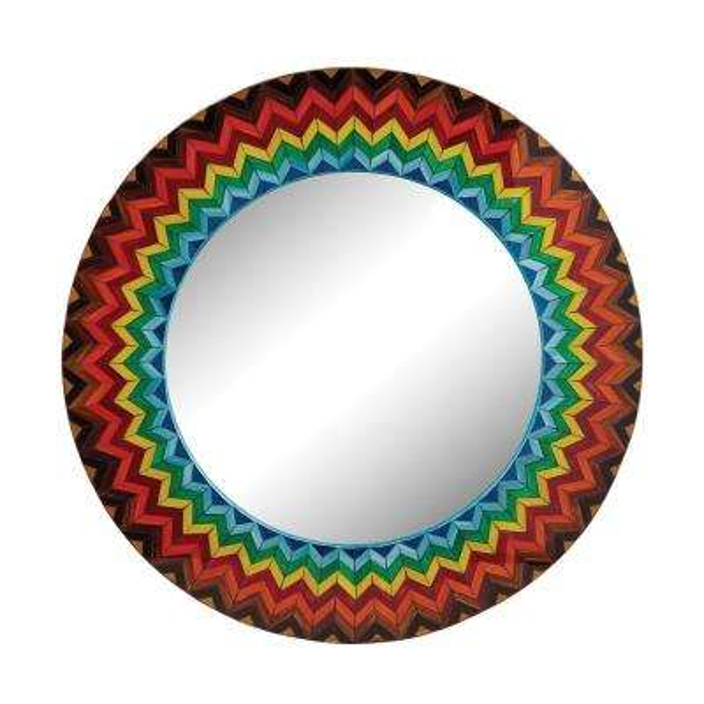 32 in. Round Vibrant Multi Starburst Framed Mirror
