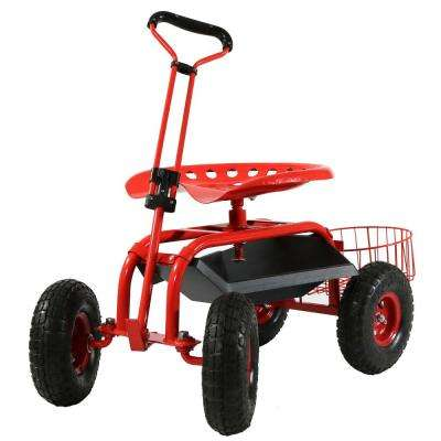 Red Steel Rolling Garden Cart with Steering Handle, Seat and Tray