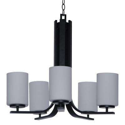 5-Light Ebony Bronze Chandelier Etched Dove White Glass Shade