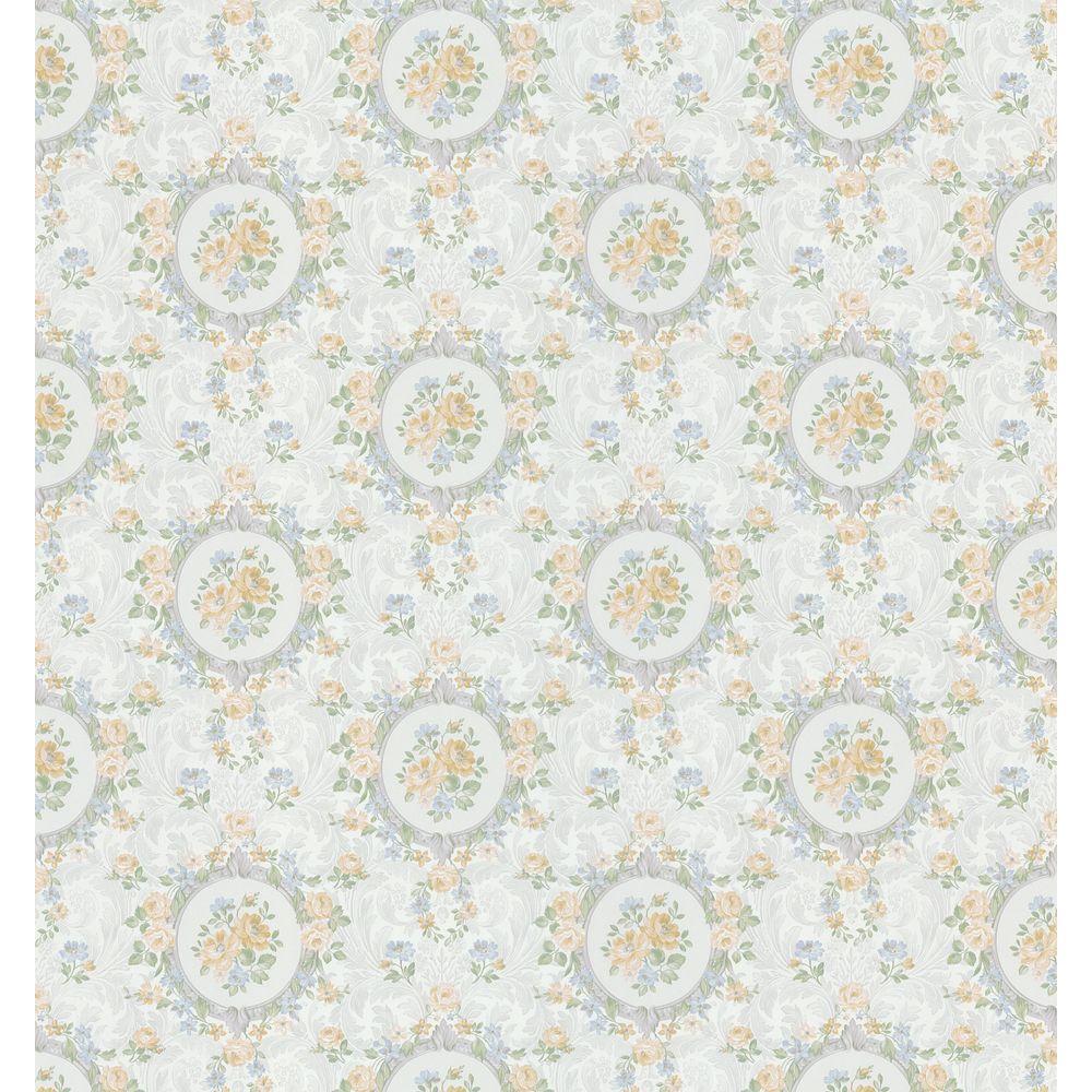 Brewster 8 in. W x 10 in. H Rose Scroll Cameo Wallpaper Sample