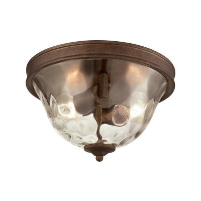 Cheltham 2-Light Mocha with Clear Water Glass Flushmount