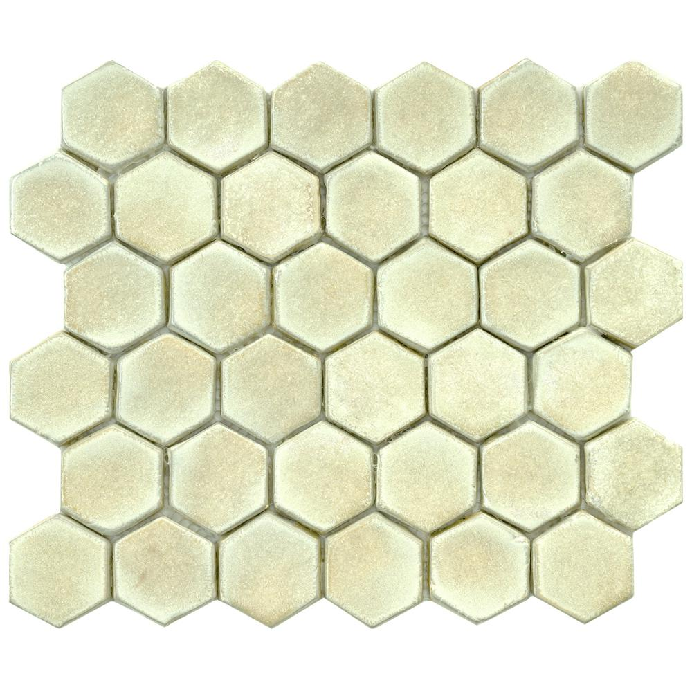 Merola Tile Cobble Hex Polar 10-3/4 in. x 12 in. x 12 mm Ceramic Mosaic Tile