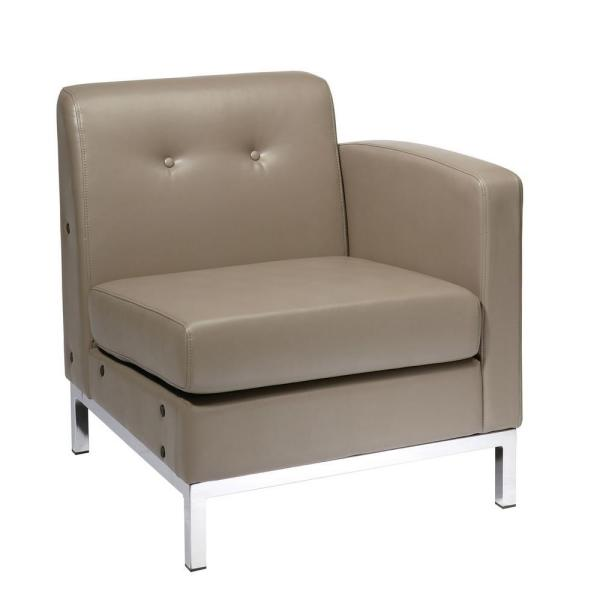 Wall Street 2-Piece Smoke Faux Leather 6-Seater L-Shaped Left-Facing Sectional Chair with Chrome Legs