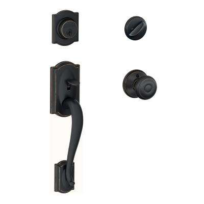Camelot Aged Bronze Single Cylinder Deadbolt with Georgian Knob Door Handleset