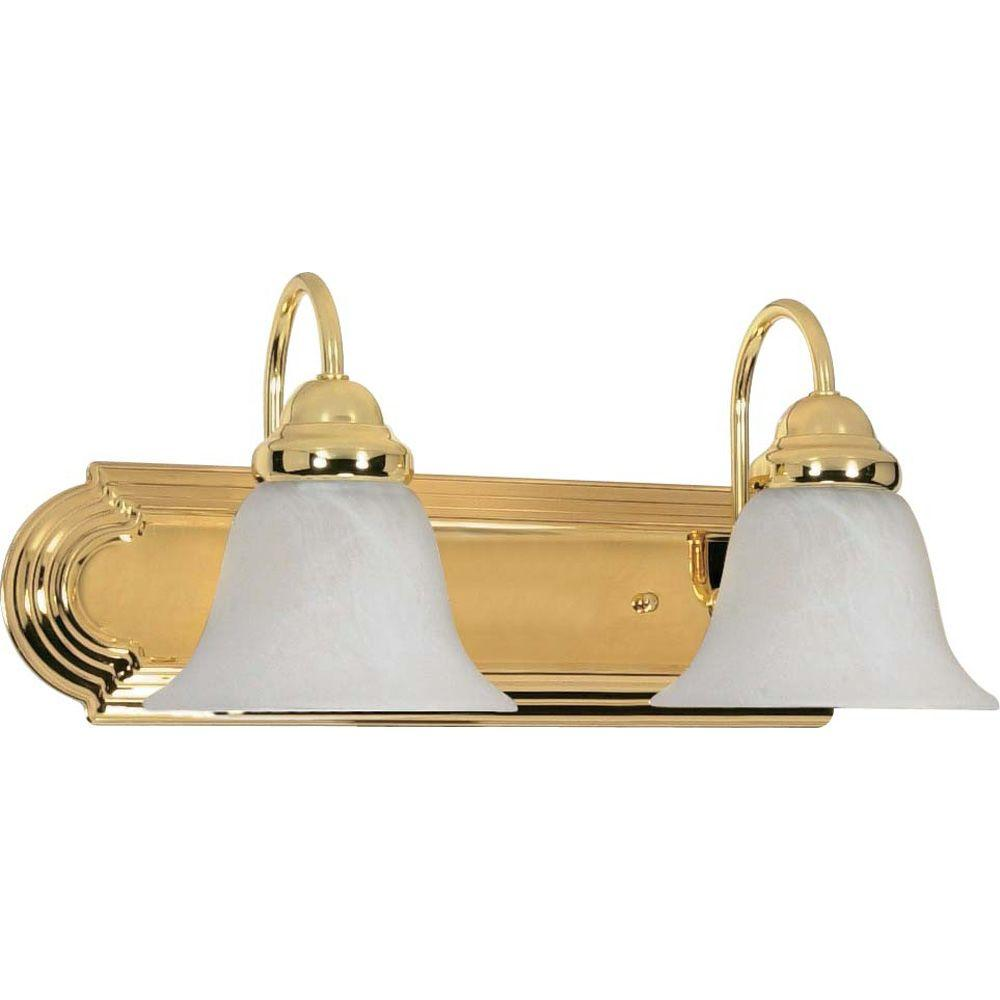 pretty nice 2e499 144ba Glomar Sophrosyne 2-Light Polished Brass Bath Vanity Light with Alabaster  Glass