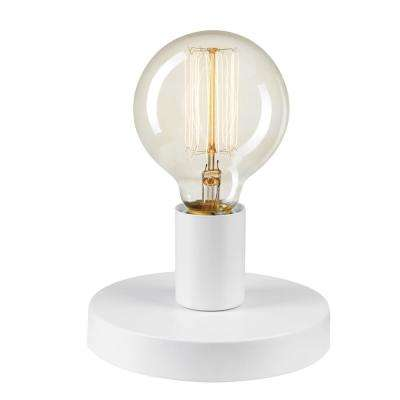 4.3 in. 3-in-1 Satin White Plug-In Hardwire Wall Sconce Flush Mount Table Lamp