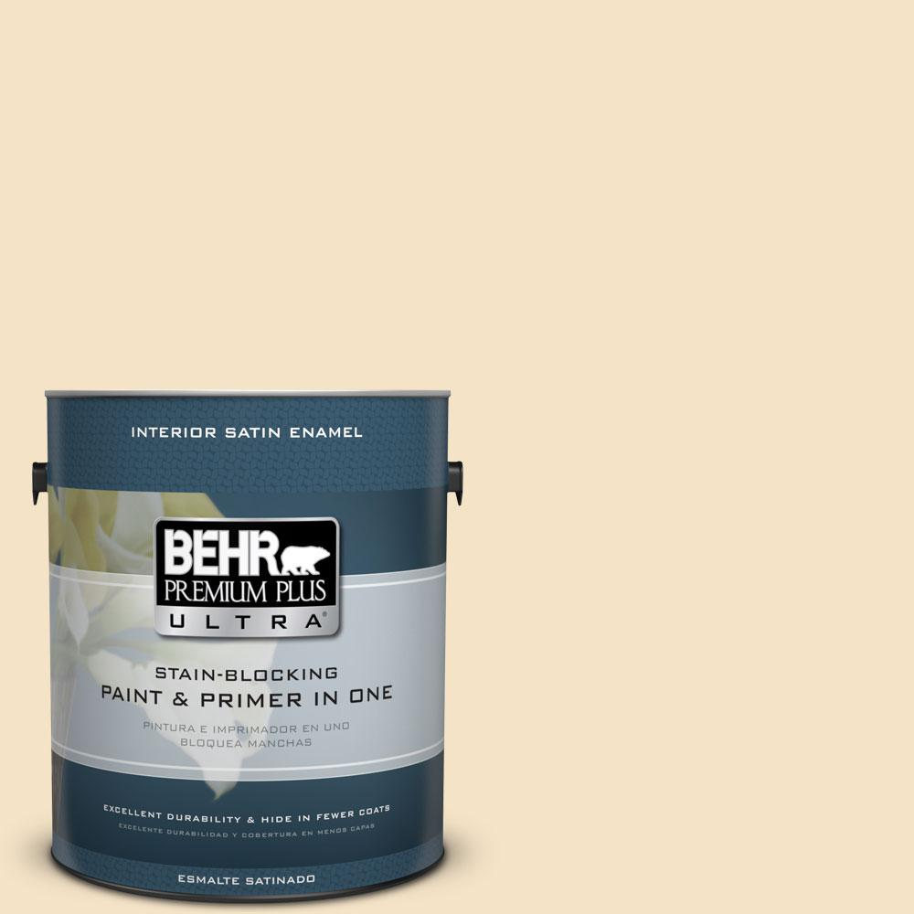 BEHR Premium Plus Ultra 1-Gal. #PPU6-10 Cream Puff Satin Enamel Interior Paint