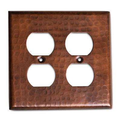 Pure Hand Hammered Double Duplex Wall Plate, Copper