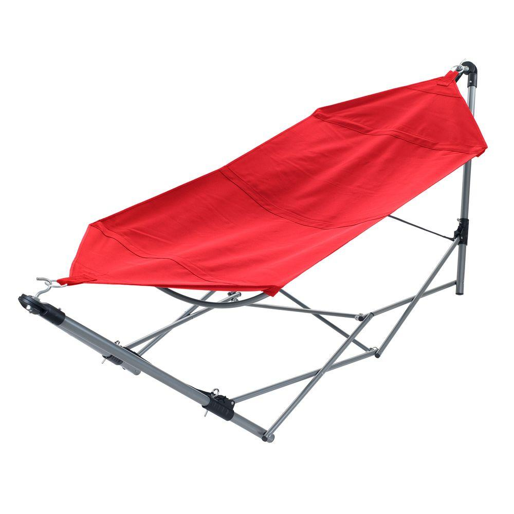 Stalwart 8 ft. Portable Hammock with 9 ft. Frame Stand and Carrying Bag in Red