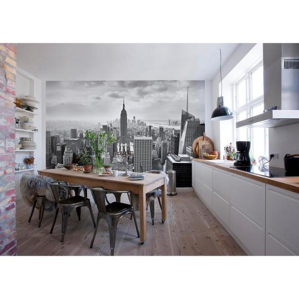 145 in. x 100 in. NYC Black and White Wall Mural