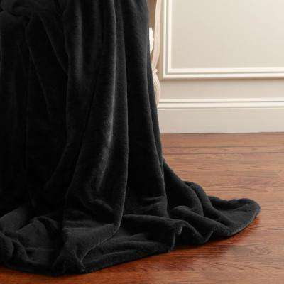 Luxe Faux Fur 84 in. L Black Throw