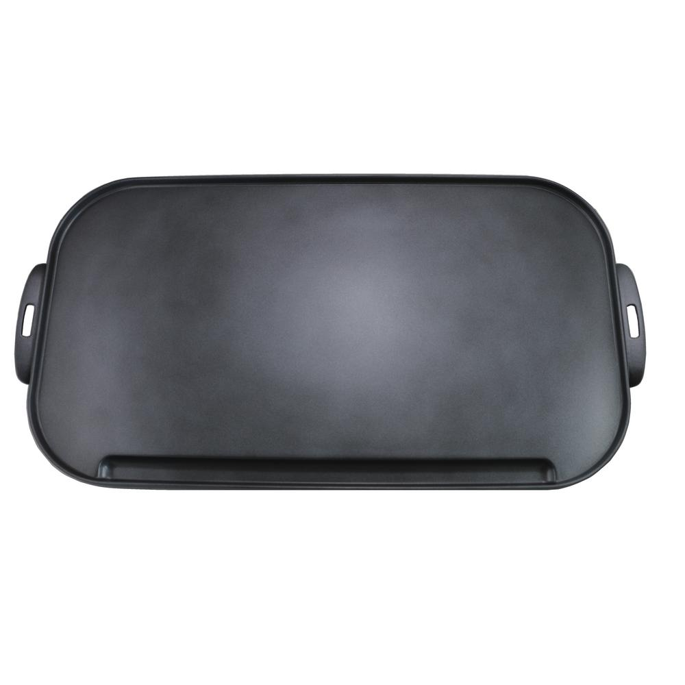 Little Griddle 10.8 in. Ceramic Non-Stick Double-Burner Griddle in Charcoal Gray