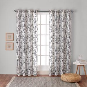 Branches 54 in. W x 84 in. L Linen Blend Grommet Top Curtain Panel in Indigo (2 Panels)
