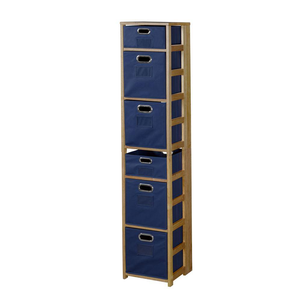 Nemus Medium Oak and Blue 6-Shelf Folding Bookcase and Storage Tote Set
