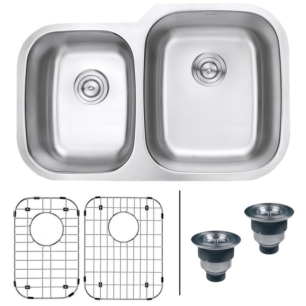 Ruvati 32 in. 40/60 Undermount 16-Gauge Stainless Steel Double Bowl Kitchen Sink, Brushed Stainless Steel With the beauty and functionality of large, deep bowls and classic rounded corners, the Parmi series will complement any kitchen. The gently curved corners ensure perfect water drainage and makes it easy to keep the sink clean. The commercial grade brushed stainless finish hides scratches and blemishes and matches well with your other kitchen appliances. Color: Brushed Stainless Steel.