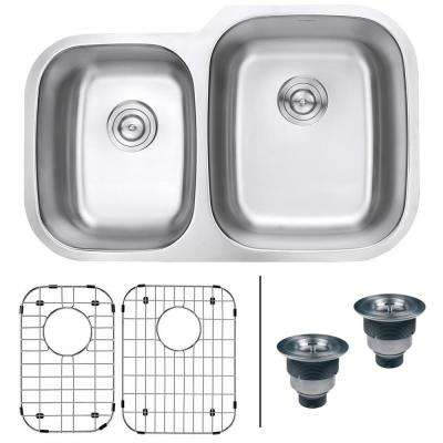 32 in. 40/60 Undermount 16-Gauge Stainless Steel Double Bowl Kitchen Sink