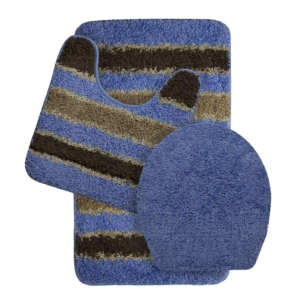 Bath Frieze Deliso Olefin Stripe Non-Slip Light Blue 3-Piece Bath ...