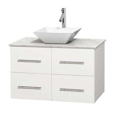 Centra 36 in. Vanity in White with Marble Vanity Top in Carrara White and Porcelain Sink