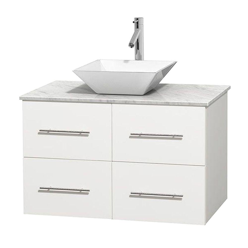 Wyndham Collection Centra 36 in. Vanity in White with Marble Vanity Top in Carrara White and Porcelain Sink