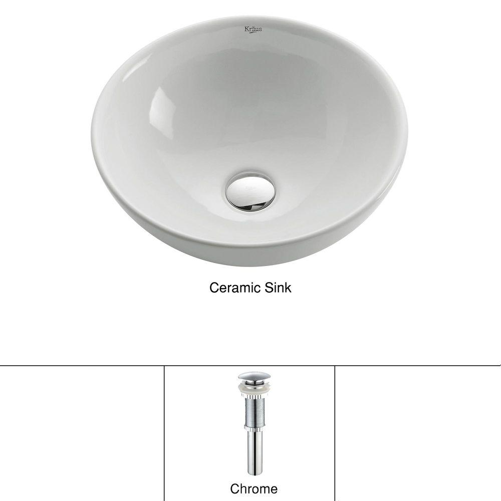 KRAUS Soft Round Ceramic Vessel Bathroom Sink In White With Pop Up - Bathroom drain