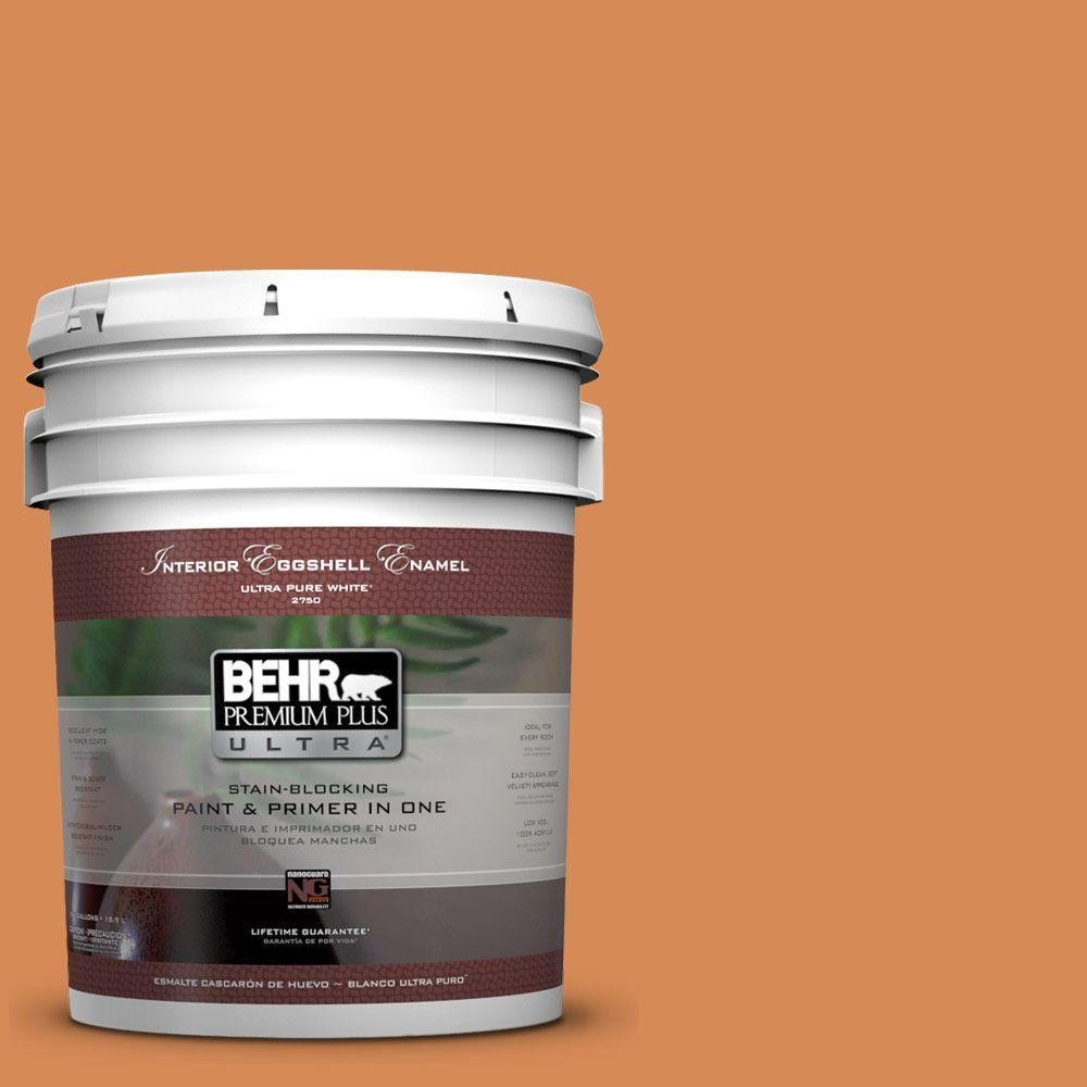BEHR Premium Plus Ultra 5 gal. #PMD-80 Spiced Pumpkin Eggshell Enamel Interior Paint and Primer in One