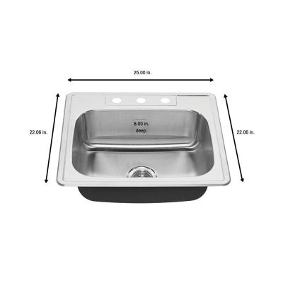 Colony All-in-One Drop-In Stainless Steel 25 in. 3-Hole Single Bowl Kitchen Sink with Faucet in Stainless Steel