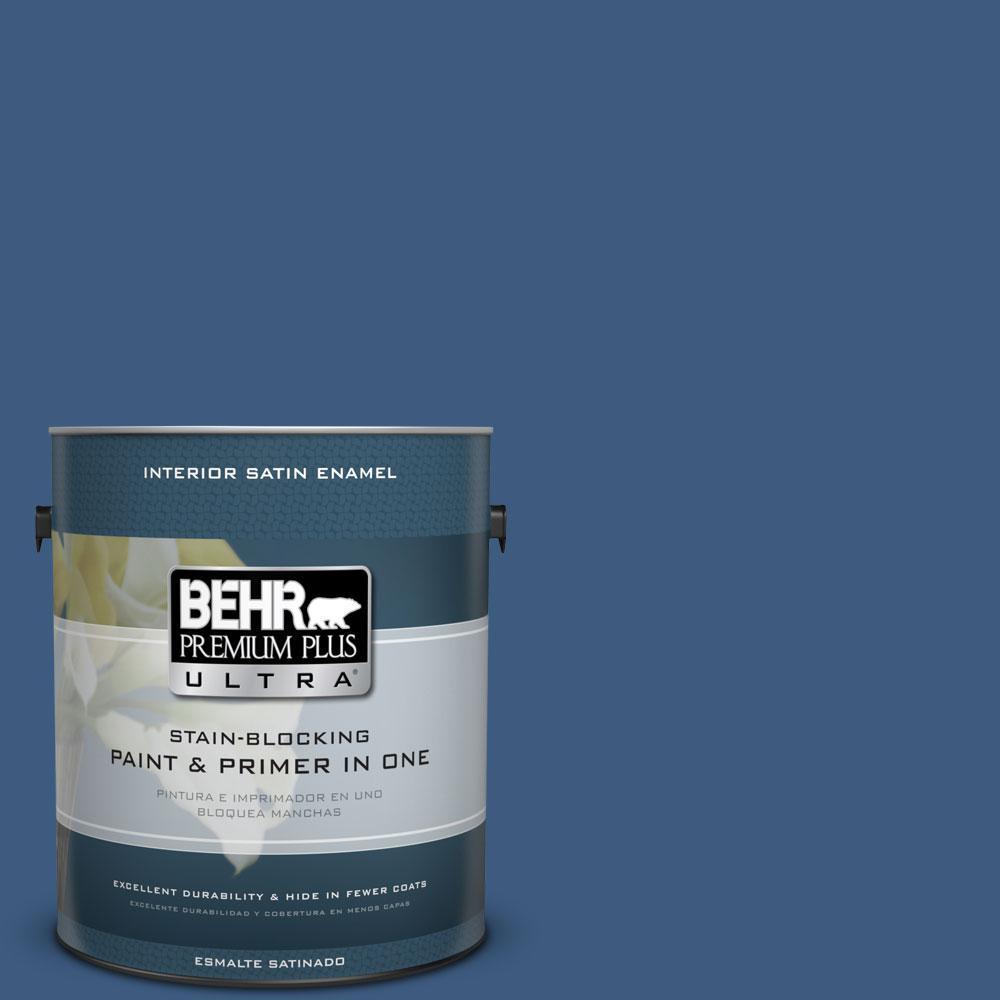 BEHR Premium Plus Ultra 1-gal. #M520-7 Admiral Blue Satin Enamel Interior Paint