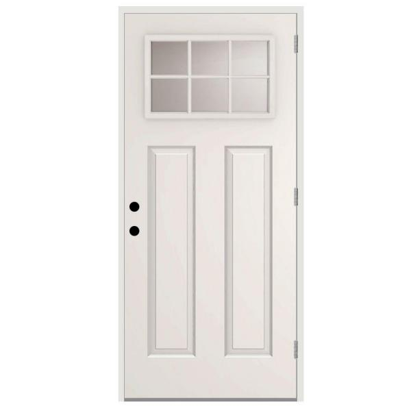 32 in. x 80 in. 6 Lite Left-Hand Outswing White Primed Steel Prehung Front Door with 4 in. Wall