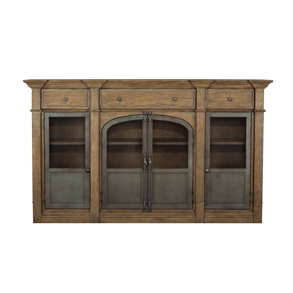 HomeFare Metal Door Light Oak Sideboard