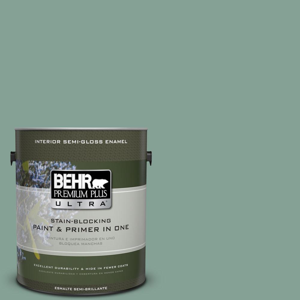 BEHR Premium Plus Ultra 1-gal. #S420-4 Australian Jade Semi-Gloss Enamel Interior Paint