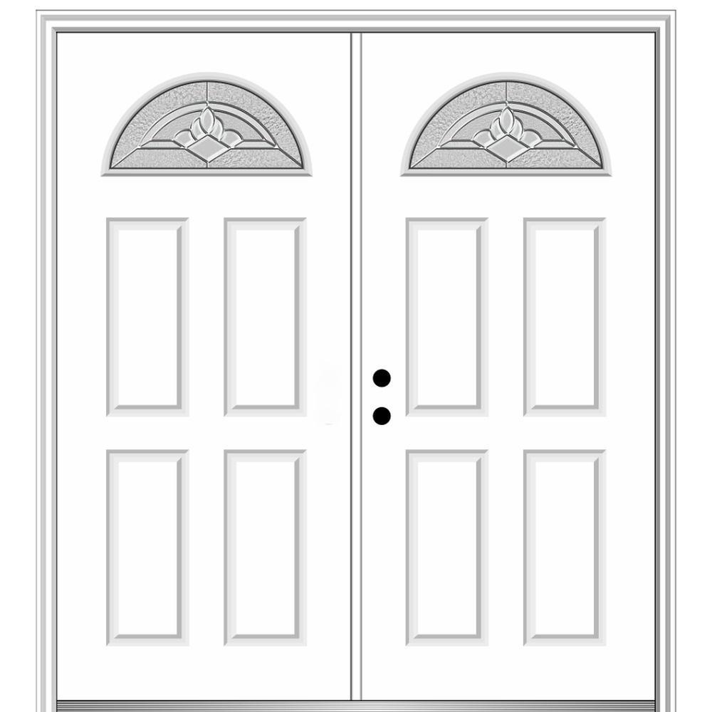 60 in. x 80 in. Grace Right-Hand Inswing Fan-Lite Decorative Primed Fiberglass Prehung Front Door on 4-9/16 in. Frame