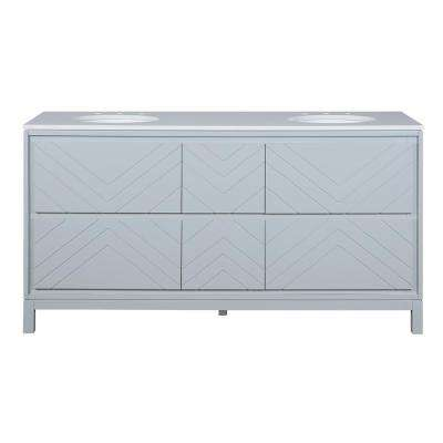 Clemente 67 in. W Double Vanity in Dove Grey with Quartz Vanity Top in White with White Sink