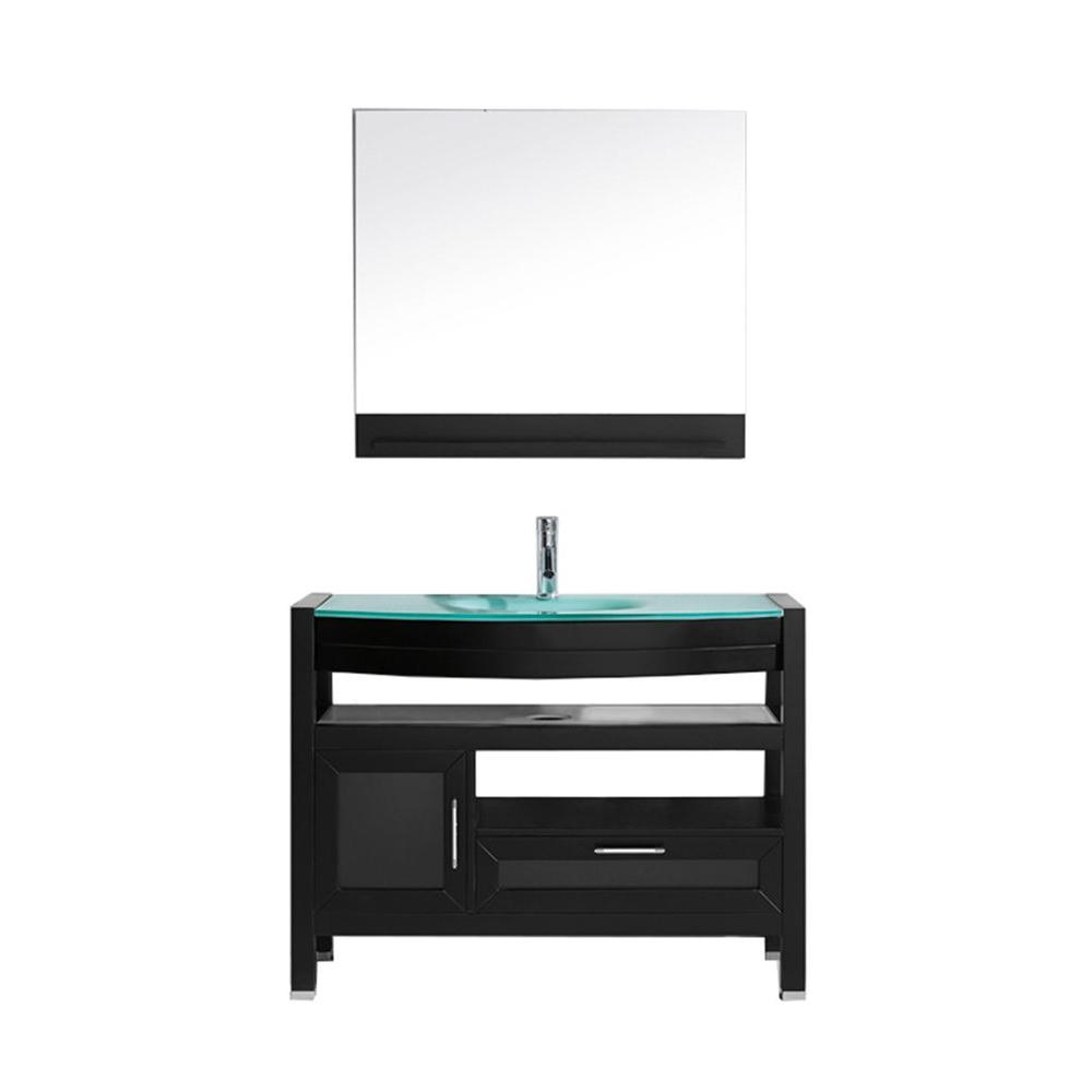 Virtu USA Lana 43 in. Single Basin Vanity in Espresso with Glass Vanity Top in Aqua and Mirror