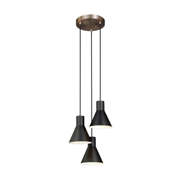 Towner 3-Light Black Shade with Satin Brass Accents Cluster Pendant