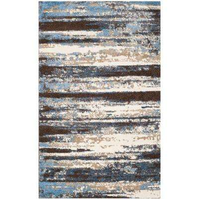 Retro Cream/Blue 6 ft. x 9 ft. Area Rug