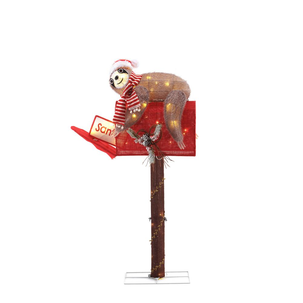 Home Accents Holiday 48 in. 70-Light LED Tinsel Sloth and Mail Box